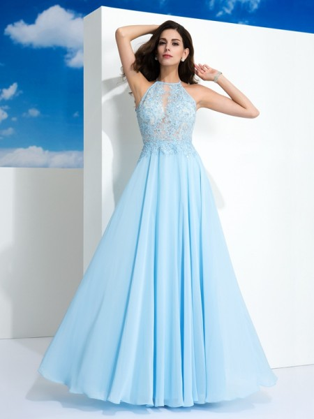 A-Line/Princess Spaghetti Straps Sleeveless Floor-Length Chiffon Prom Dress with Applique