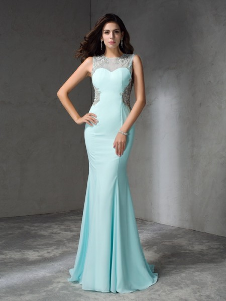 Trumpet/Mermaid Jewel Sleeveless Sweep/Brush Train Chiffon Prom Dress with Beading