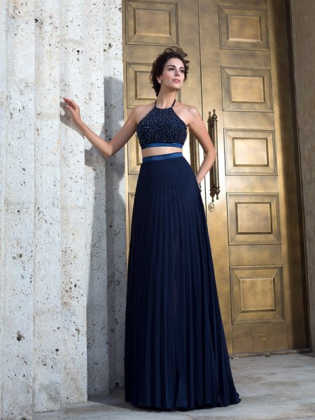 A-Line/Princess Spaghetti Straps Sleeveless Sweep/Brush Train Chiffon Two Piece Prom Dress with Pleats
