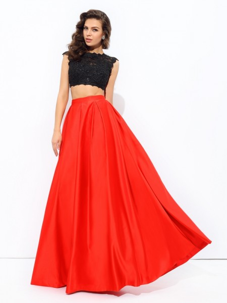 A-Line/Princess Sleeveless Scoop Floor-Length Satin Prom Dress with Lace
