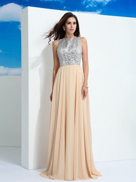 A-Line/Princess Scoop Sleeveless Sweep/Brush Train Chiffon Prom Dress with Paillette