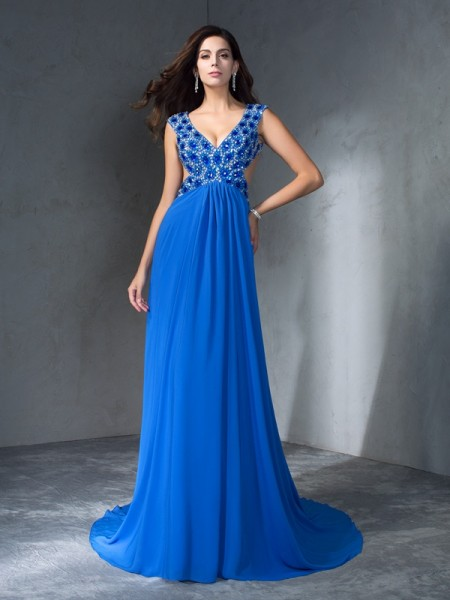 A-Line/Princess V-neck Sleeveless Sweep/Brush Train Chiffon Prom Dress with Sequin