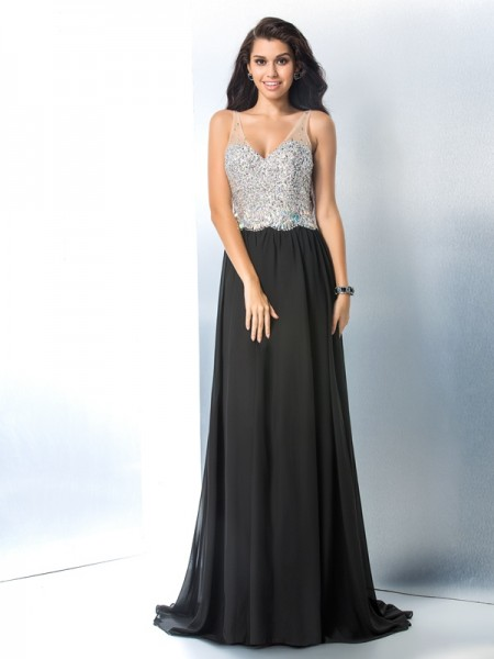 A-Line/Princess V-neck Sleeveless Sweep/Brush Train Chiffon Prom Dress with Beading