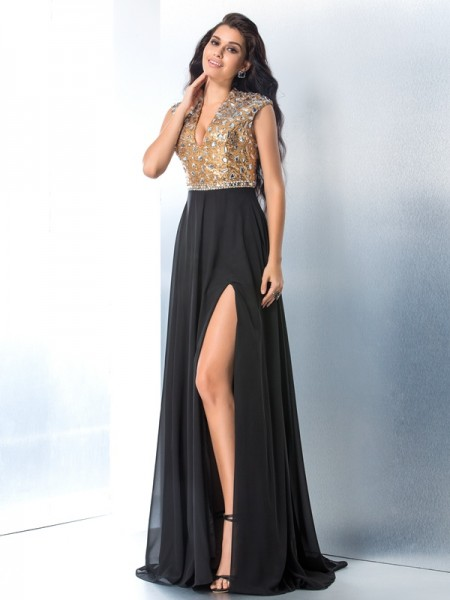 A-Line/Princess V-neck Sleeveless Sweep/Brush Train Chiffon Prom Dress with Rhinestone
