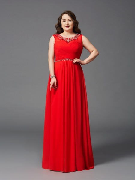 A-Line/Princess Scoop Sleeveless Floor-Length Chiffon Plus Size Prom Dress with Beading