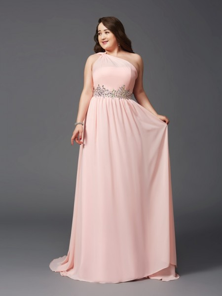 One-Shoulder Sleeveless Sweep/Brush Train Chiffon Plus Size Prom Dress with Rhinestone