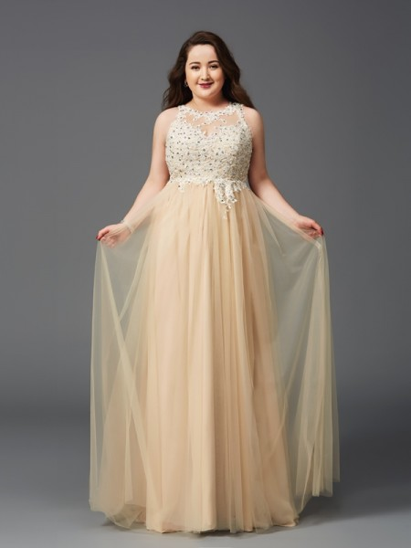 A-Line/Princess Scoop Sleeveless Floor-Length Net Plus Size Prom Dress with Rhinestone