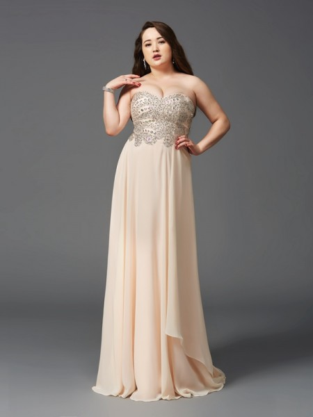 A-Line/Princess Sweetheart Sleeveless Sweep/Brush Train Chiffon Plus Size Prom Dress with Rhinestone