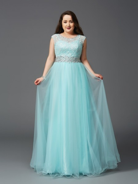 A-Line/Princess Scoop Sleeveless Floor-Length Elastic Woven Satin Plus Size Prom Dress with Rhinestone