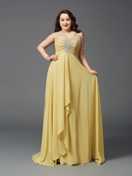 A-Line/Princess One-Shoulder Sleeveless Sweep/Brush Train Chiffon Plus Size Prom Dress with Rhinestone