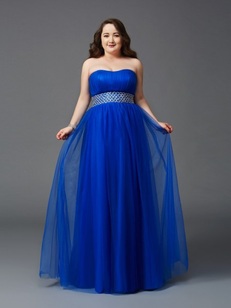 A-Line/Princess Strapless Sleeveless Floor-Length Net Plus Size Prom Dress with Beading