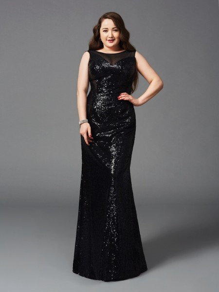 Sheath/Column Scoop Sleeveless Floor-Length Sequins Plus Size Prom Dress with Sequin