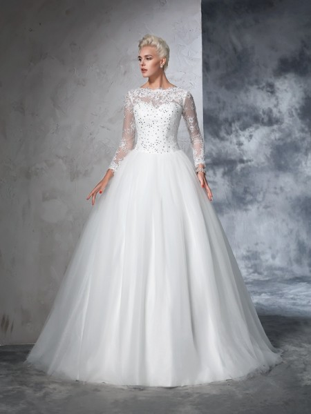 Ball Gown Long Sleeves Bateau Net Sweep/Brush Train Wedding Dress with Lace