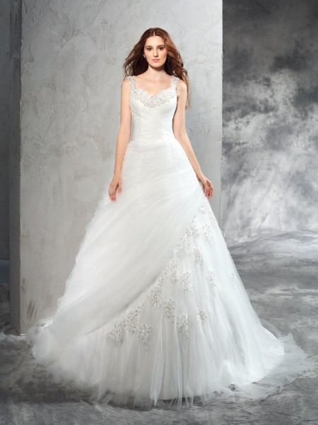 Ball Gown Straps Sleeveless Court Train Net Wedding Dress with Applique