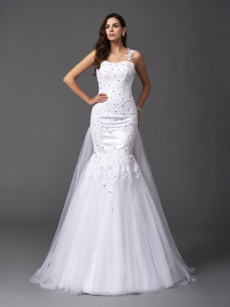 Trumpet/Mermaid Straps Sleeveless Net Sweep/Brush Train Wedding Dress