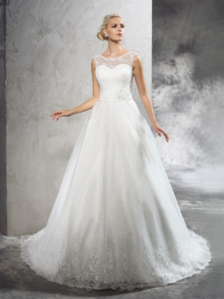 Ball Gown Sheer Neck Sleeveless Court Train Net Wedding Dress with Sash/Ribbon/Belt