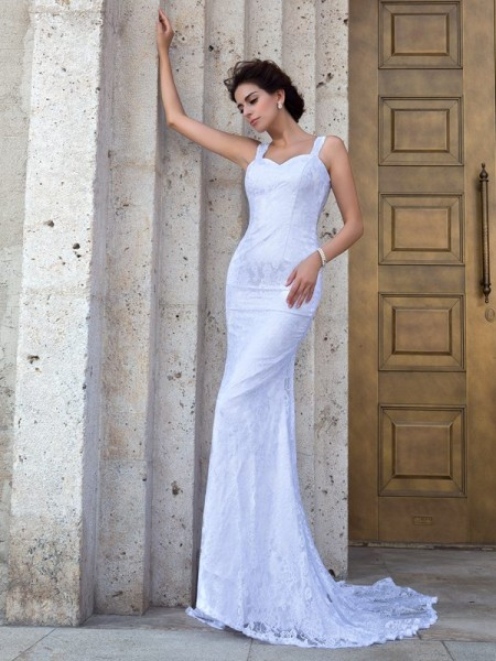 Sheath/Column Straps Sleeveless Court Train Wedding Dress with Lace Applique