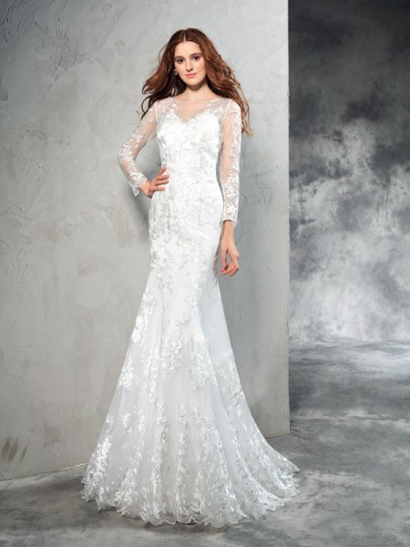Sheath/Column Sheer Neck Long Sleeves Sweep/Brush Train Net Wedding Dress with Lace