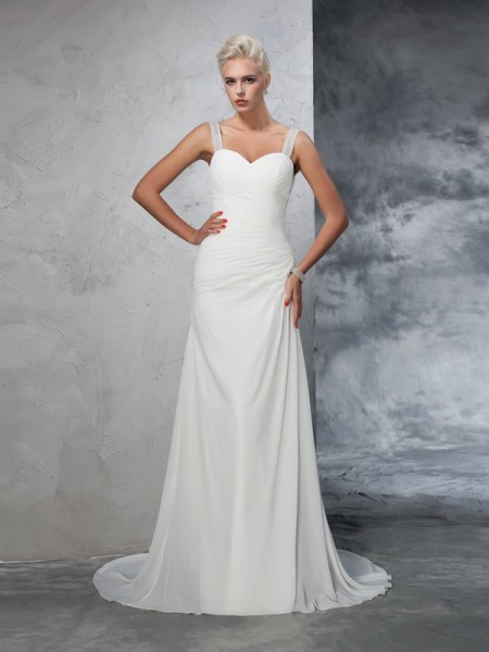 Trumpet/Mermaid Straps Sleeveless Chiffon Court Train Wedding Dress with Ruched