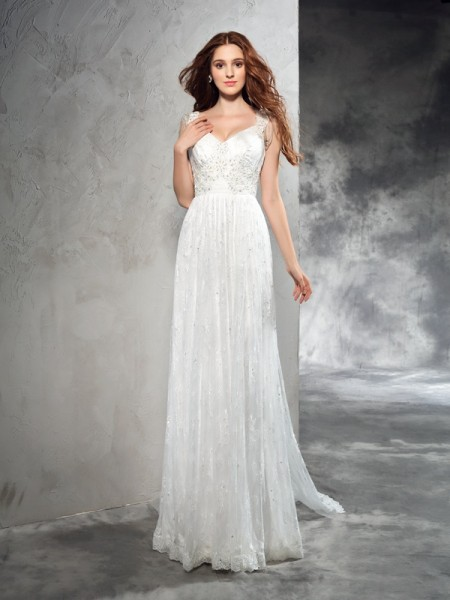 A-Line/Princess Straps Sleeveless Court Train Wedding Dress with Lace