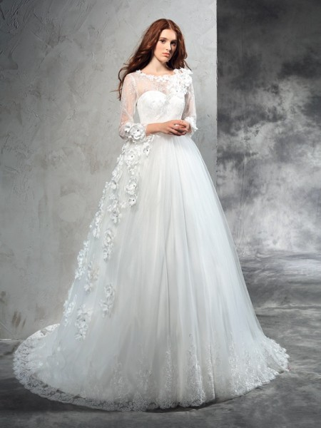 Ball Gown Sheer Neck Long Sleeves Court Train Net Wedding Dress with Hand-Made Flower