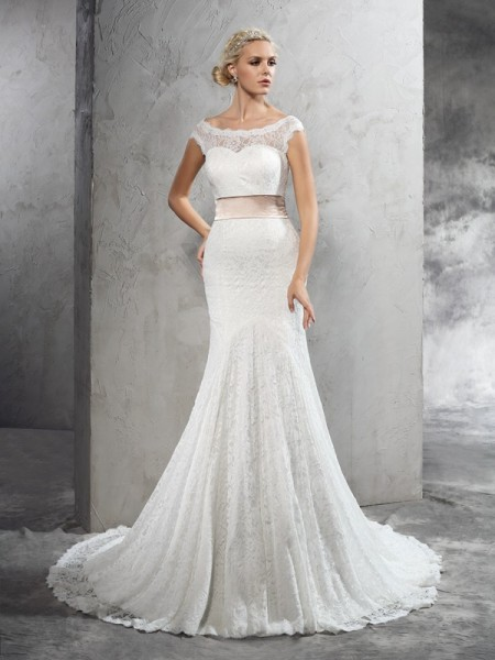 Sheath/Column Sheer Neck Sleeveless Court Train Wedding Dress with Lace Sash/Ribbon/Belt