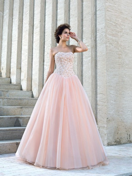 Ball Gown Sleeveless Strapless Satin Floor-Length Wedding Dress with Beading