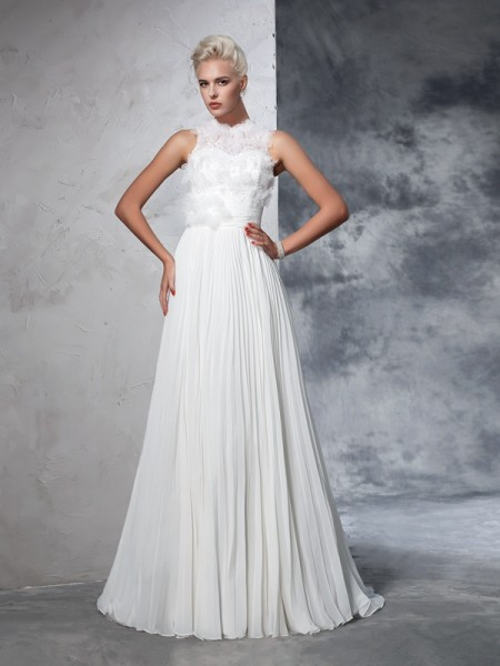 A-Line/Princess Sleeveless High Neck Chiffon Court Train Wedding Dress with Pleats