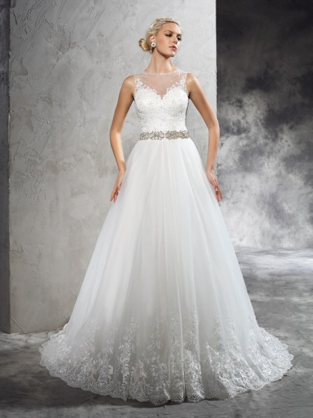 A-Line/Princess Sheer Neck Sleeveless Court Train Net Wedding Dress with Beading