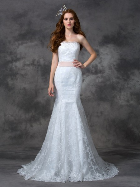 Trumpet/Mermaid Strapless Sleeveless Court Train Wedding Dress with Lace Sash/Ribbon/Belt