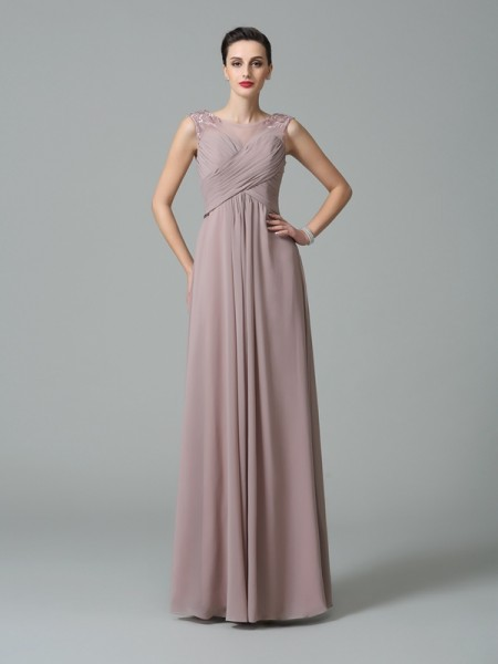 A-Line/Princess Scoop Sleeveless Floor-Length Chiffon Bridesmaid Dress with Ruched