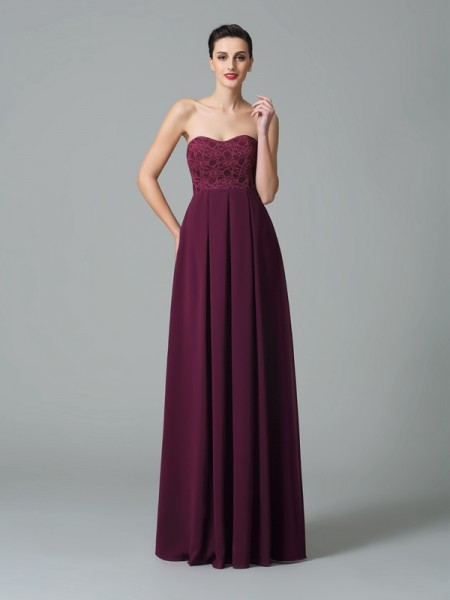 A-Line/Princess Sweetheart Sleeveless Floor-Length Chiffon Bridesmaid Dress with Ruffles