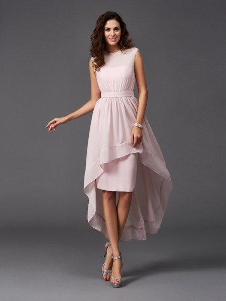 A-Line/Princess Scoop Sleeveless Asymmetrical Chiffon Bridesmaid Dress with Sash/Ribbon/Belt