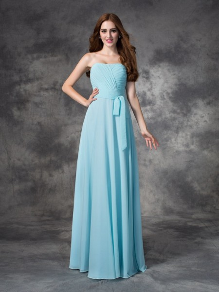 A-line/Princess Strapless Sleeveless Floor-length Chiffon Bridesmaid Dress with Ruched