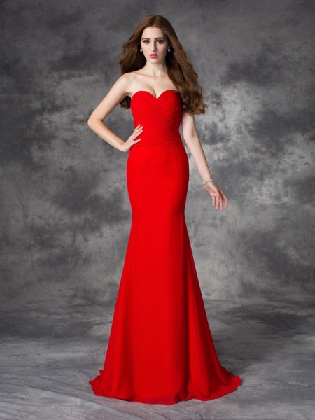 Trumpet/Mermaid Sweetheart Sleeveless Sweep/Brush Train Chiffon Bridesmaid Dress with Ruched