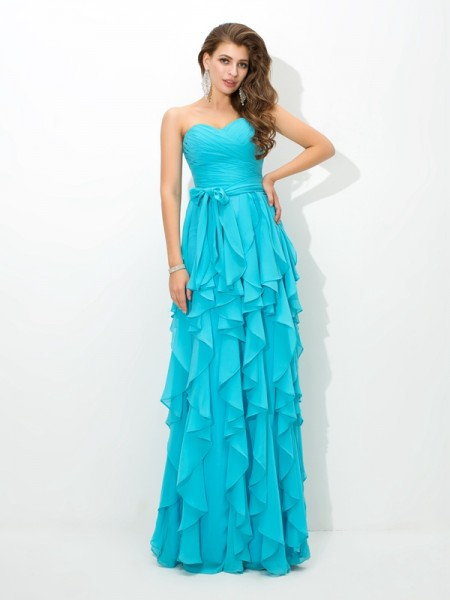 A-Line/Princess Sweetheart Sleeveless Layers Floor-Length Chiffon Bridesmaid Dress