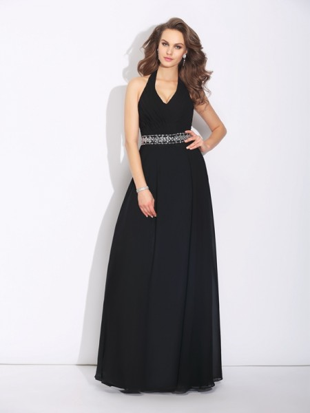 A-Line/Princess Halter Sleeveless Floor-Length Chiffon Bridesmaid Dress with Beading