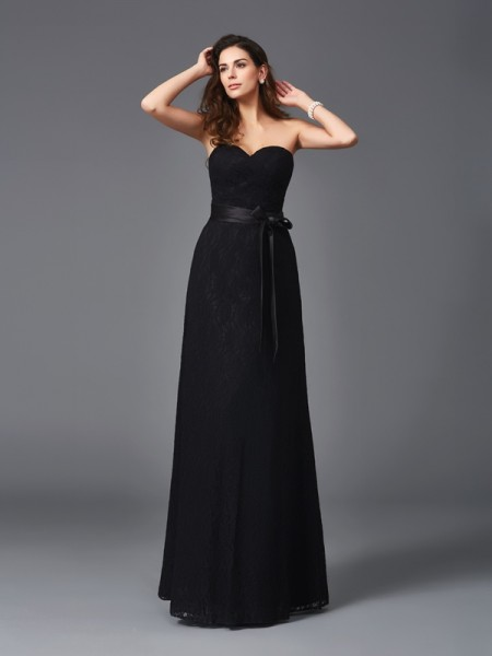 A-Line/Princess Sweetheart Sleeveless Floor-Length Bridesmaid Dress with Lace Sash/Ribbon/Belt