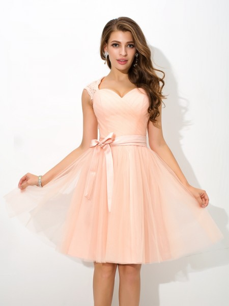 A-Line/Princess Straps Sleeveless Short/Mini Net Bridesmaid Dress with Sash/Ribbon/Belt
