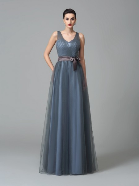 A-Line/Princess Straps Sleeveless Floor-Length Net Bridesmaid Dress with Sash/Ribbon/Belt