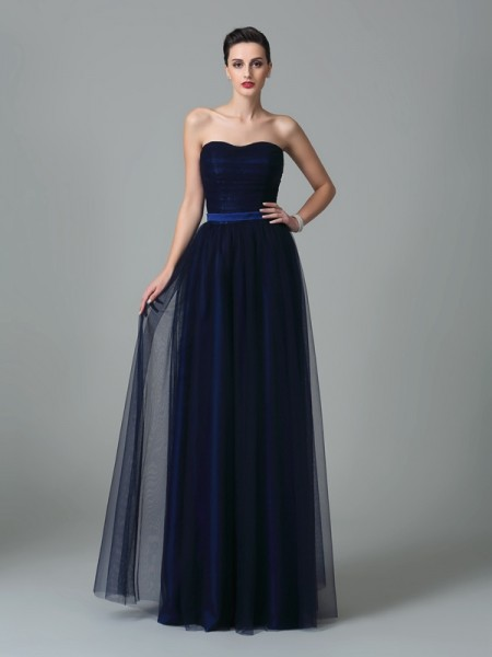 A-Line/Princess Sweetheart Sleeveless Floor-Length Net Bridesmaid Dress with Ruffles
