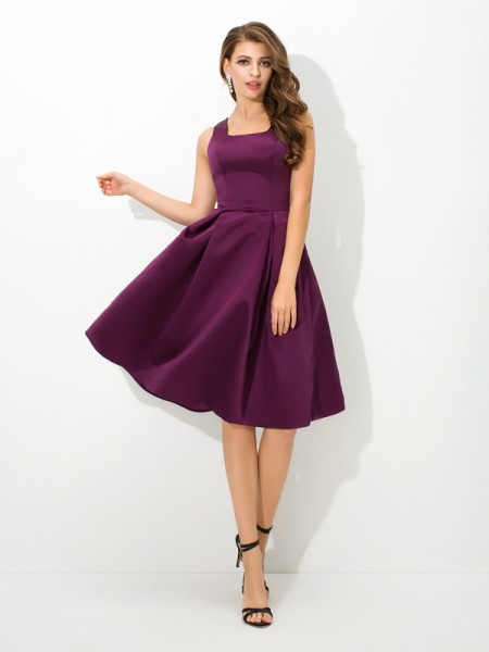 A-Line/Princess Square Sleeveless Knee-Length Satin Bridesmaid Dress with Pleats