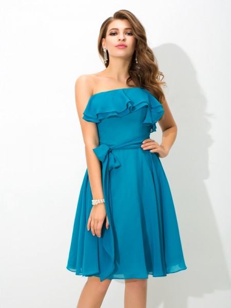 A-Line/Princess One-Shoulder Sleeveless Knee-Length Silk like Satin Bridesmaid Dress with Sash/Ribbon/Belt