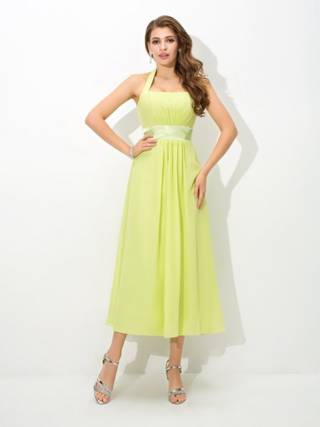 A-Line/Princess Halter Sleeveless Ankle-Length Chiffon Bridesmaid Dress with Pleats