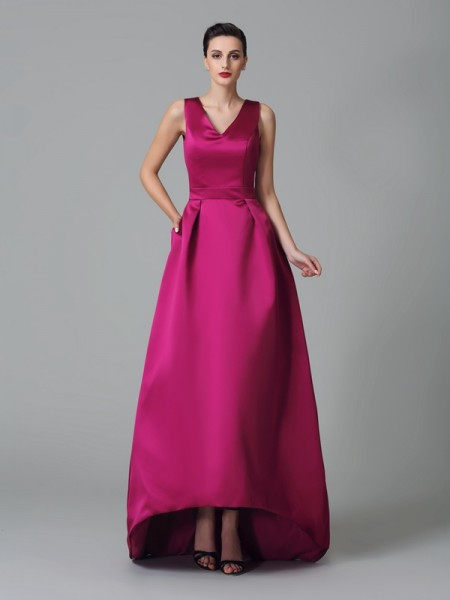A-Line/Princess Straps Sleeveless Asymmetrical Satin Bridesmaid Dress with Ruched