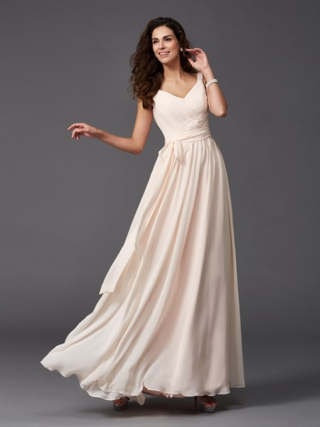 A-Line/Princess Straps Sleeveless Floor-Length Chiffon Bridesmaid Dress with Sash/Ribbon/Belt