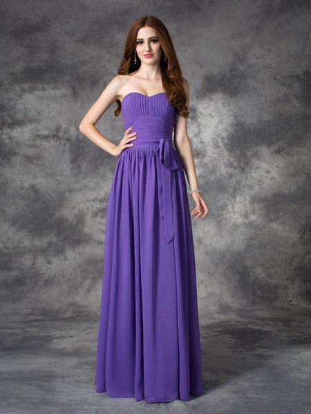 A-line/Princess Sweetheart Sleeveless Chiffon Long Bridesmaid Dress with Ruffles