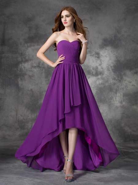 A-line Sweetheart Sleeveless Asymmetrical Chiffon Bridesmaid Dress with Ruffles