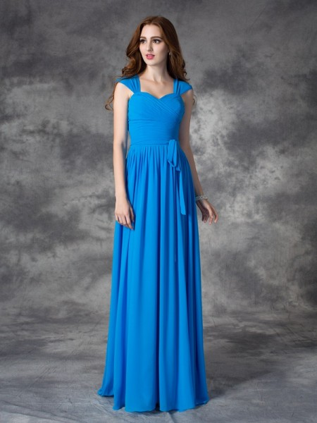 A-line/Princess Straps Sleeveless Floor-length Chiffon Bridesmaid Dress with Ruffles