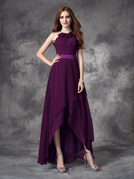 A-line/Princess Halter Sleeveless Asymmetrical Chiffon Bridesmaid Dress with Ruffles